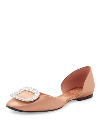Ballerine Chips Crystal Buckle Flat, Rose