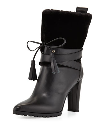 Furnow Faux-Fur Leather Bootie, Black