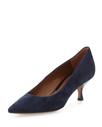 Rome Suede Low-Heel Pump, Navy