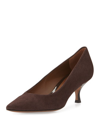 Rome Suede Low-Heel Pump, Dark Brown
