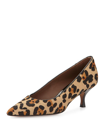 Rome Calf-Hair Low-Heel Pump, Black/Natural