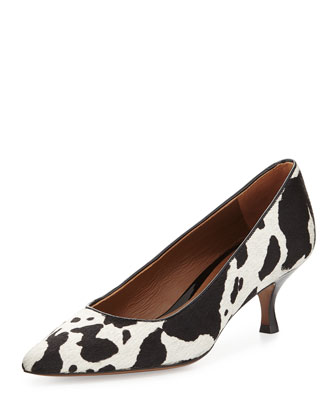 Rome Calf-Hair Low-Heel Pump, Black/White