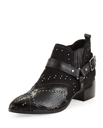 Desta Calf-Hair Ankle Bootie, Black