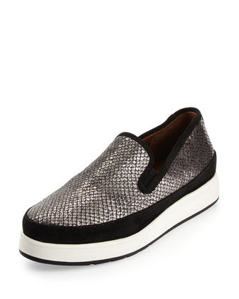 Mickey Snake-Print Leather Sneaker, Gunmetal