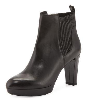Endina Platform Leather Bootie, Black