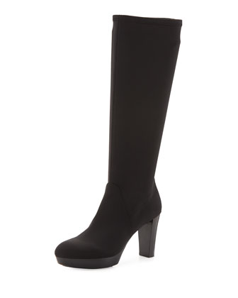 Enisa Stretch-Crepe Tall Boot, Black