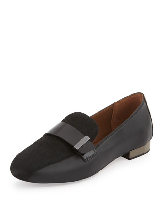 Elli Leather & Calf-Hair Loafer, Black