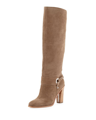 Owen Oiled Suede Knee Boot, Taupe