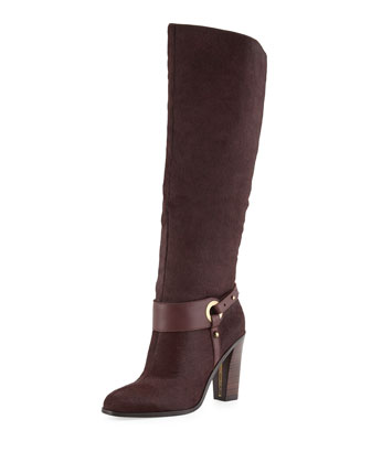 Owen Calf Hair Knee Boot, Garnet