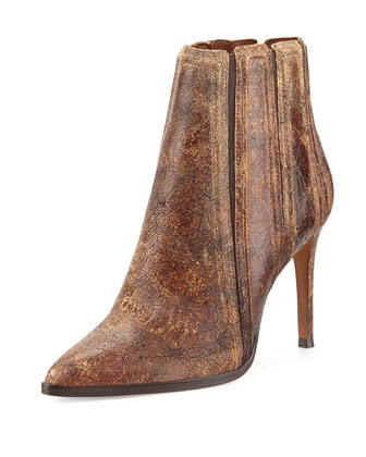 Prim Distressed Leather Bootie, Chestnut