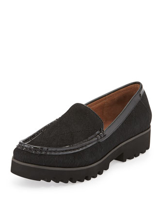 Roko Stitched Calf-Hair Loafer, Black