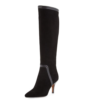 Tero Piped Suede Knee Boot, Black