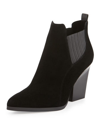 Vale Suede Pull-On Bootie, Black