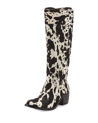 Willi Calf-Hair Riding Boot, Black/White