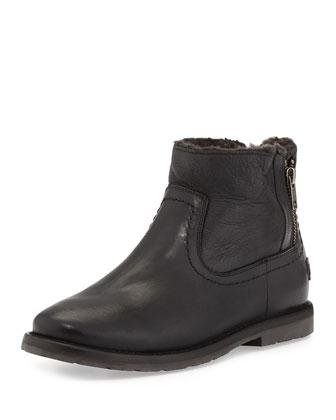 Celia Fur-Lined Ankle Boot, Black