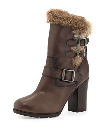 Penny Lux Fur-Lined Boot, Dark Gray