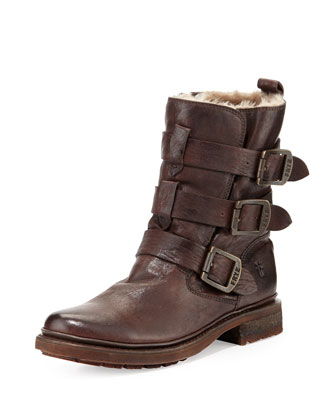 Valerie Shearling-Lined Buckle Boot, Dark Brown