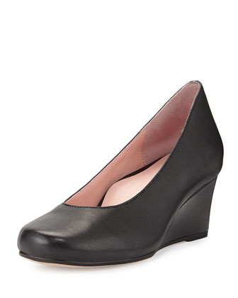 Taijo Napa Leather Wedge Pump, Black