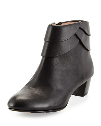 Fabi Scalloped Leather Bootie, Black