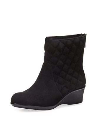 Andy Quilted Demi-Wedge Boot, Black