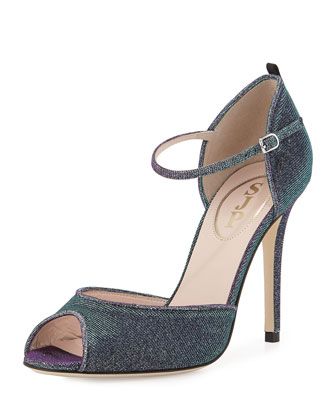 Ursula Iridescent Fabric Sandal, Glow/Teal