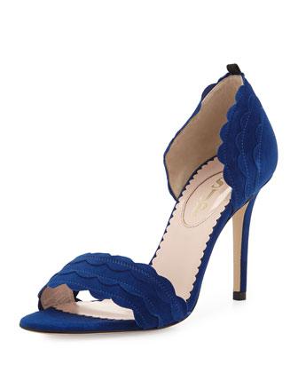 Bobbie Scalloped Suede d'Orsay Sandal, Royal Blue