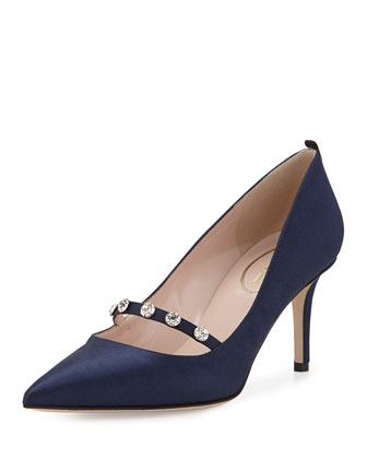 Daphne Satin Crystal Pump, Navy