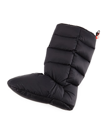 Down-Filled Quilted Boot Sock, Black