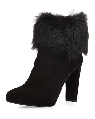 Topofit Fur-Cuff Bootie, Black