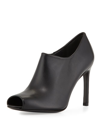 Altamira Leather Peep-Toe Bootie, Black