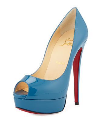 Lady Peep Patent Platform Red Sole Pump, Blue