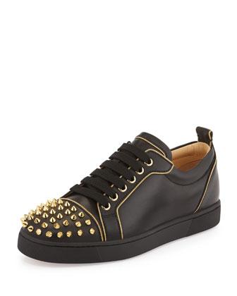 Rush Studded Leather Sneaker, Black