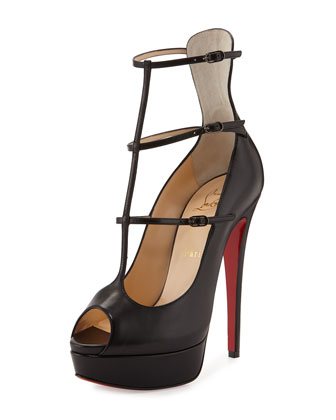 Sistoerless Platform Caged Red Sole Pump, Black