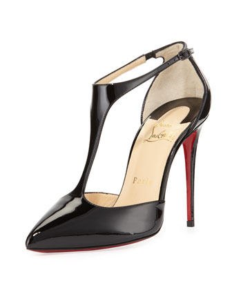 J String Patent Red Sole Pump, Black