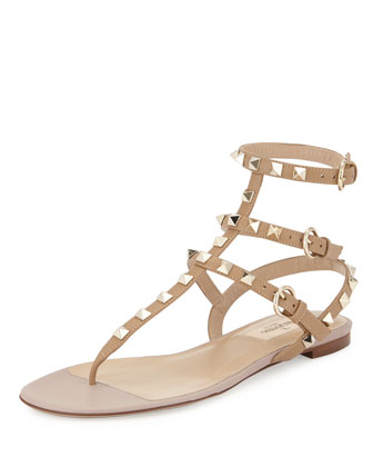 Rockstud Flat Gladiator Sandal, Alpaca/Poudre