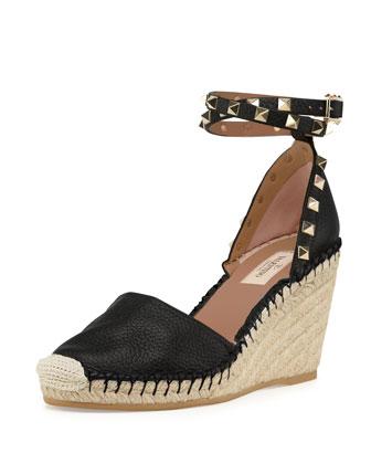 Rockstud Ankle-Wrap Espadrille Wedge, Black/Light Cuir