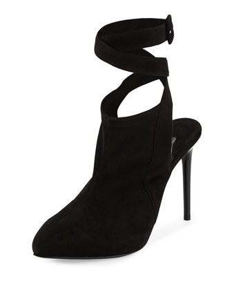 Suede Ankle-Wrap Open-Back Pump, Black