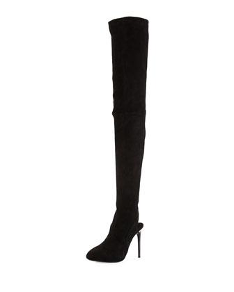 Suede Thigh-High Open-Heel Boot, Black