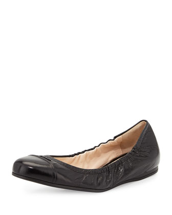 Scrunched Leather Ballet Flat, Black (Nero)