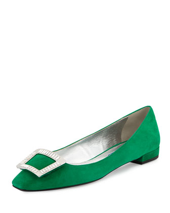 Jeweled-Buckle Suede Skimmer, Green