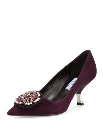 Jewel-Medallion Suede Pump, Plum (Prugna)