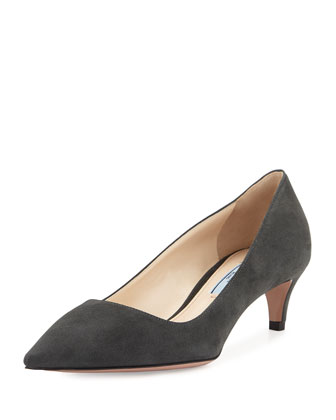 Suede Low-Heel Pump, Anthracite
