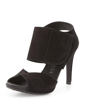 Sissel Suede Grip-Strap Sandal, Black
