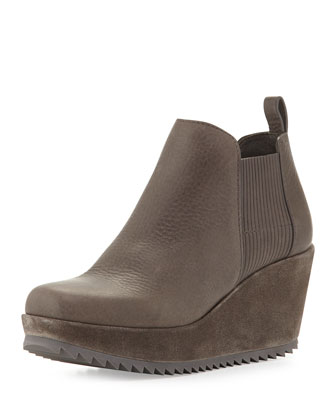 Fawn Leather Wedge Bootie, Fox