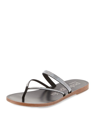 Ilsa Crystal Thong Sandal, Black