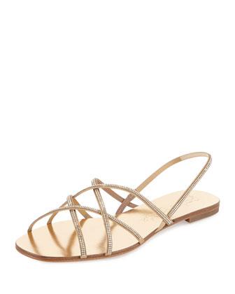 Elora Crystal-Embellished Sandal, Ore