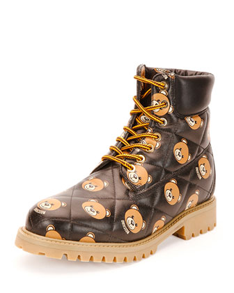 Leather Teddy Bear Hiking Boot, Multi/Black