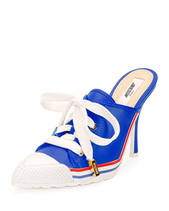 Leather Lace-Up Sneaker-Mule, Blue