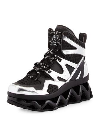 Ninja Rubberized Leather Sneaker, Black/Silver