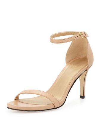 Nunaked Leather Mid-Heel Sandal, Adobe